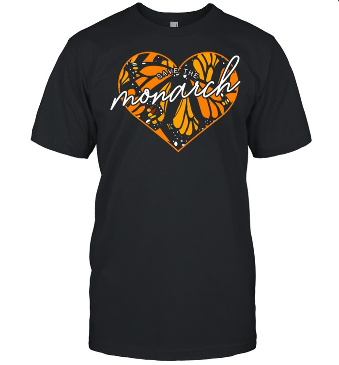 Save the Monarch Butterfly Wing Heart Pattern Cool Nature  Classic Men's T-shirt