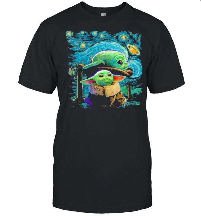 Baby Yoda In Night Star Wars  Classic Men's T-shirt