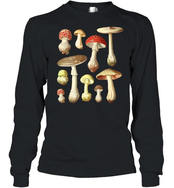 Cottagecore Aesthetic Mushrooms Vintage Mycology  Long Sleeved T-shirt