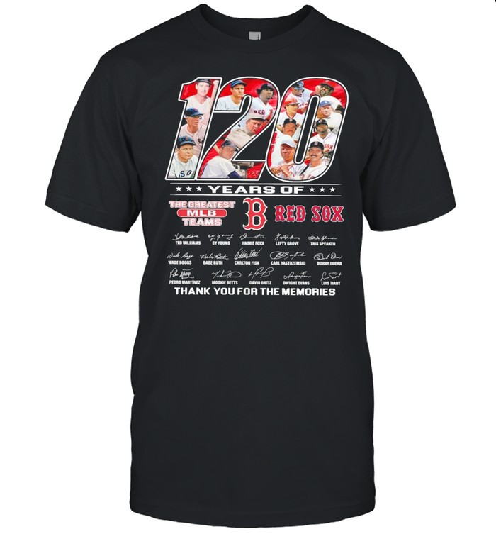 120 Years Of The Greatest Mlb Teams Red Sox Signatures Thank You For The Memories shirt Classic Men's T-shirt