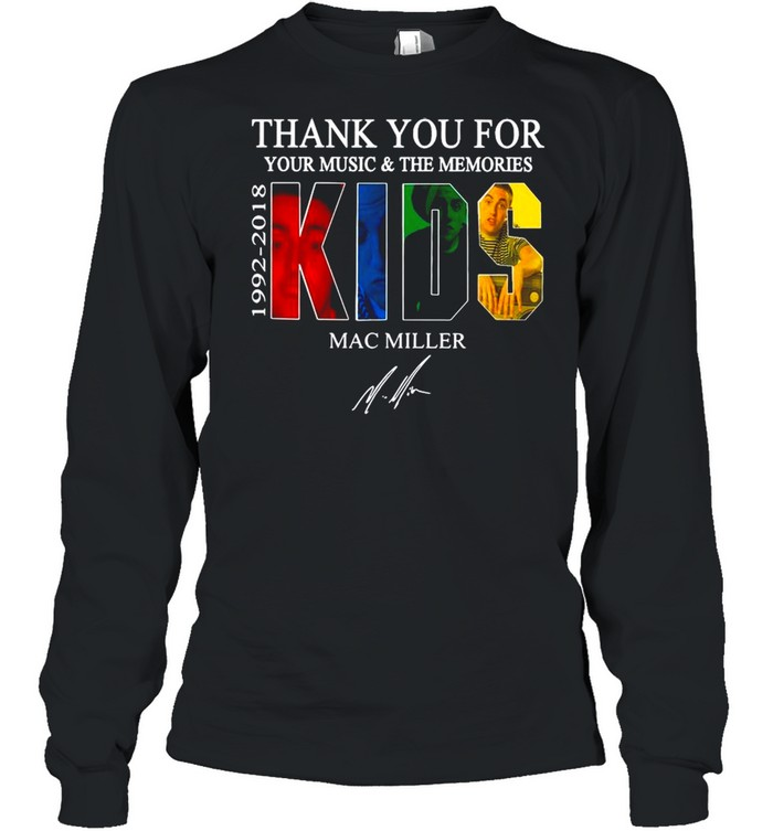 Thank You For Your Music And The Memories 1922 2018 Kids Mac Miller Signature shirt Long Sleeved T-shirt