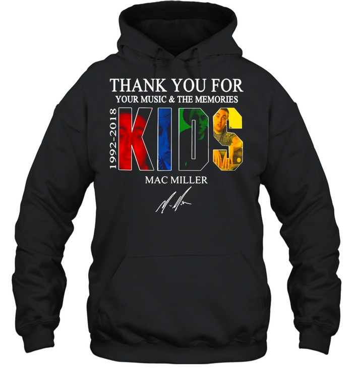 Thank You For Your Music And The Memories 1922 2018 Kids Mac Miller Signature shirt Unisex Hoodie