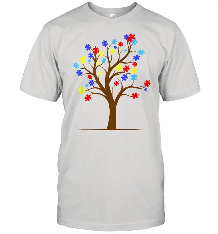 Autism Awareness Puzzle Tree Autistic Support  Classic Men's T-shirt