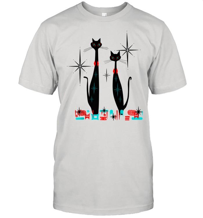 Retro Atomic Era Mid Century Modern Cat Pair w Stars  Classic Men's T-shirt