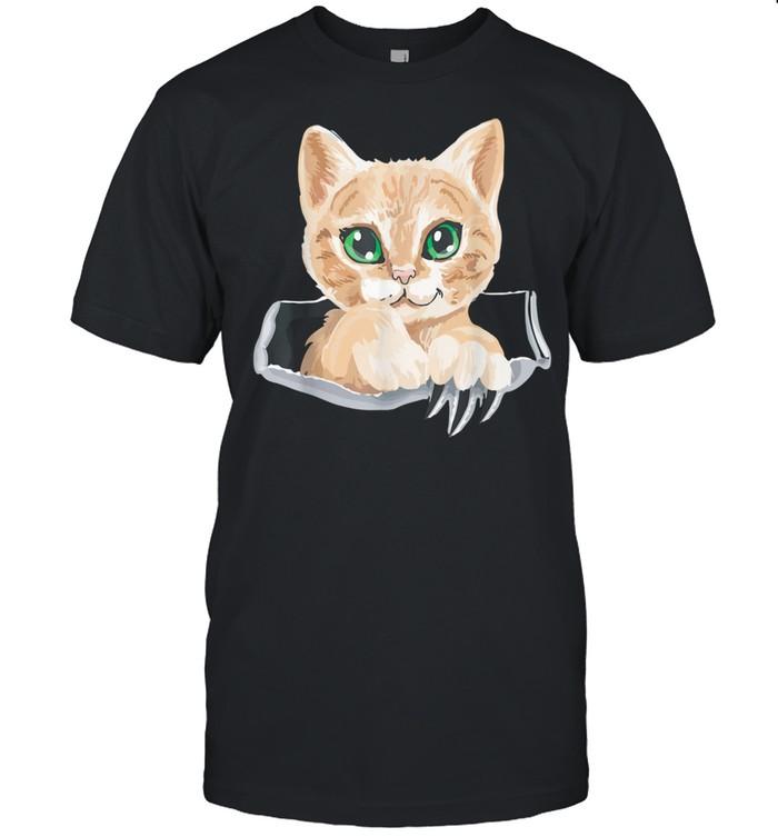 Sweet Kitten Torn Cloth Cat In the Pocket Cat Owner  Classic Men's T-shirt