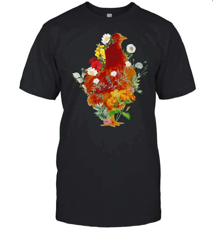Chicken Vintage Floral Botanical Flower Garden  Classic Men's T-shirt