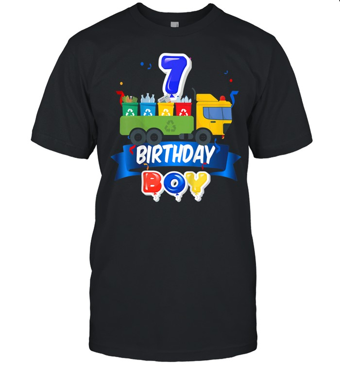 Kids Garbage Truck Happy 7th Birthday Boy truck For Trash Present  Classic Men's T-shirt