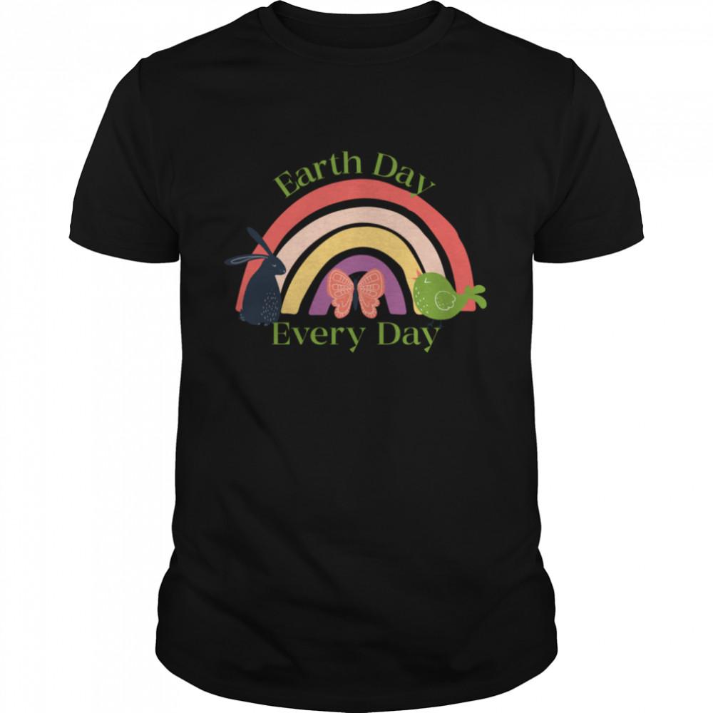 Earth Day Everyday Rainbow Bunny Bird Butterfly  Classic Men's T-shirt