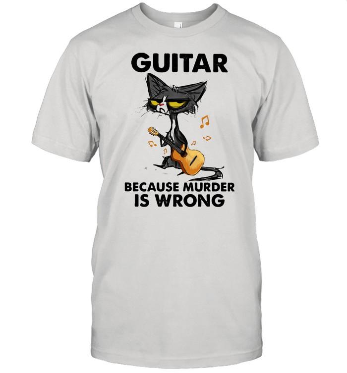 Guitar Because Murder IS Wrong Cat  Classic Men's T-shirt