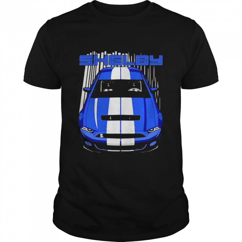 Mustang Shelby Gt500 S197 Blue And White  Classic Men's T-shirt