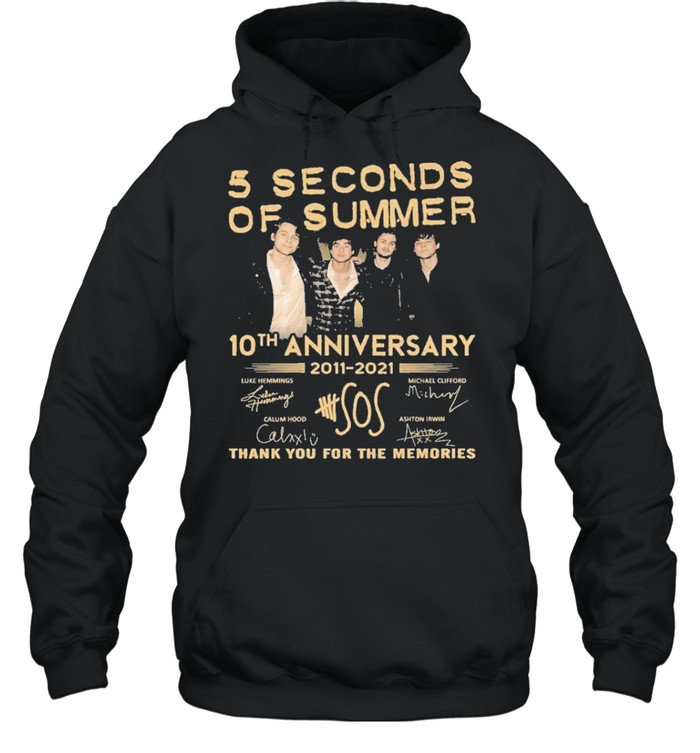 5 seconds of summer 10 th anniversary 2011 2021 thank you for the memories shirt Unisex Hoodie