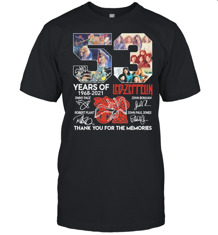 53 Years Of 1968 2021 Led Zeppelin Signatures Thank You For The Memories  Classic Men's T-shirt