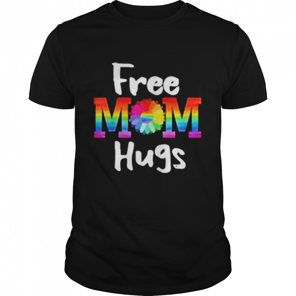 Free Mom Hugs Lgbt Flower  Classic Men's T-shirt