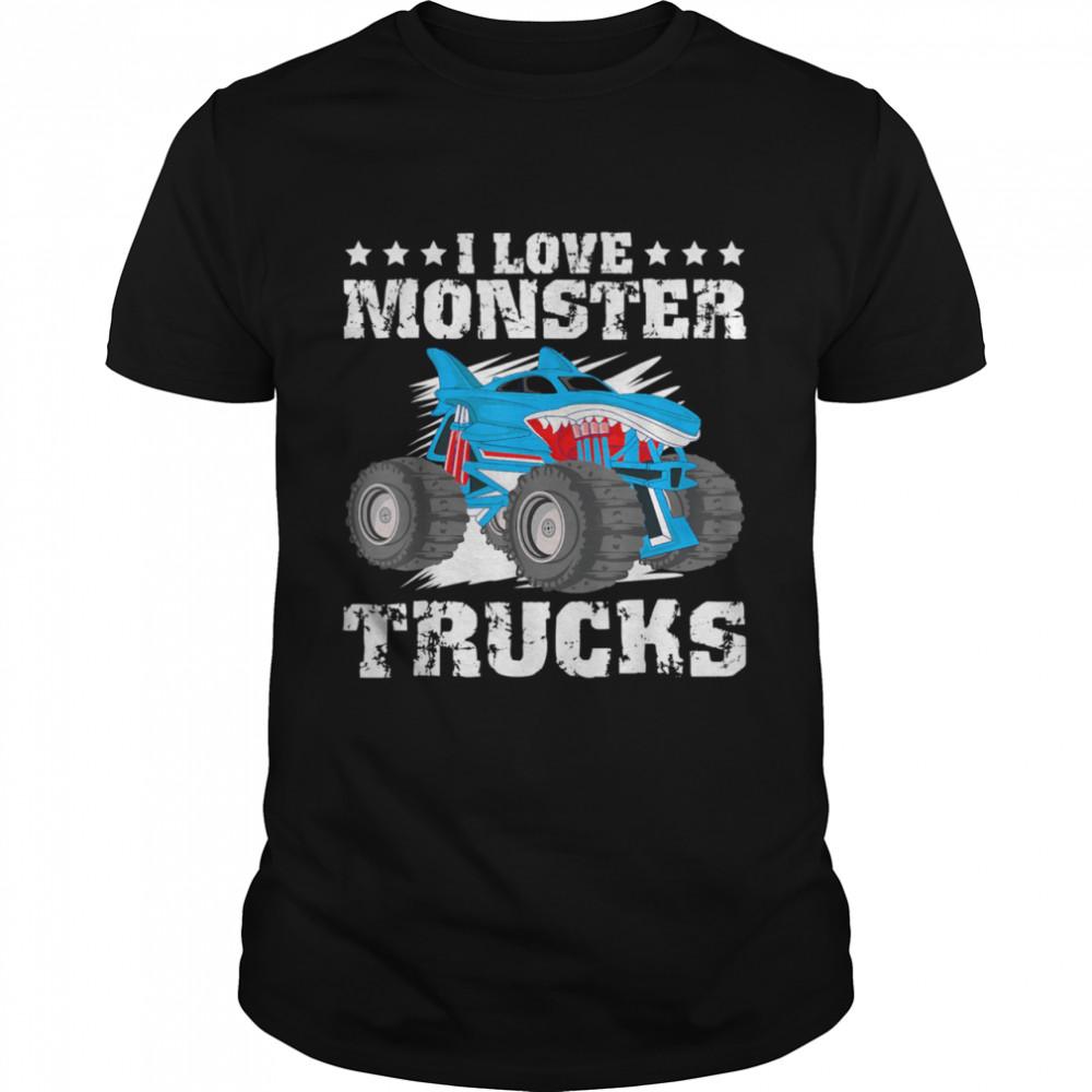 I Love Monster Trucks Stars  Classic Men's T-shirt