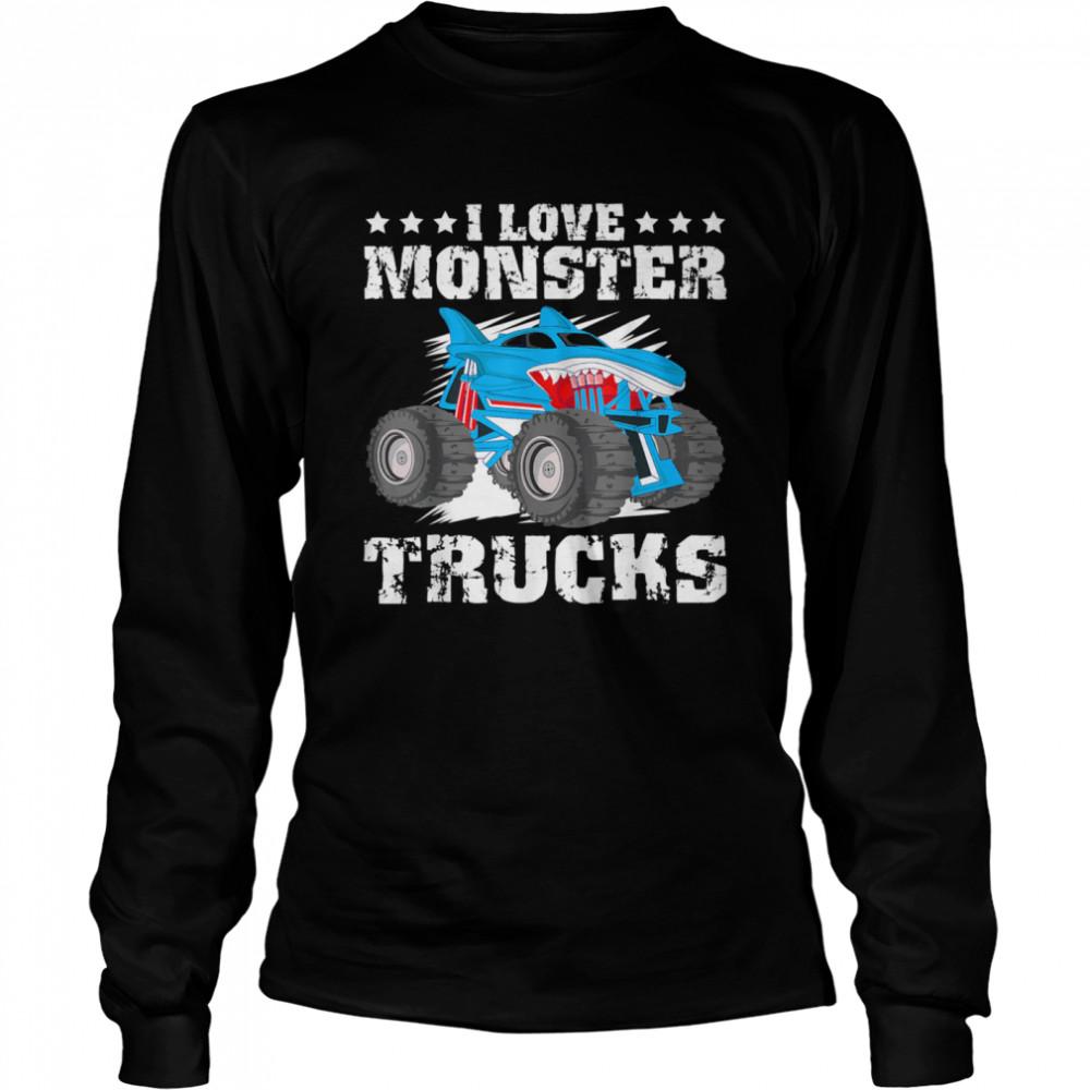 I Love Monster Trucks Stars  Long Sleeved T-shirt