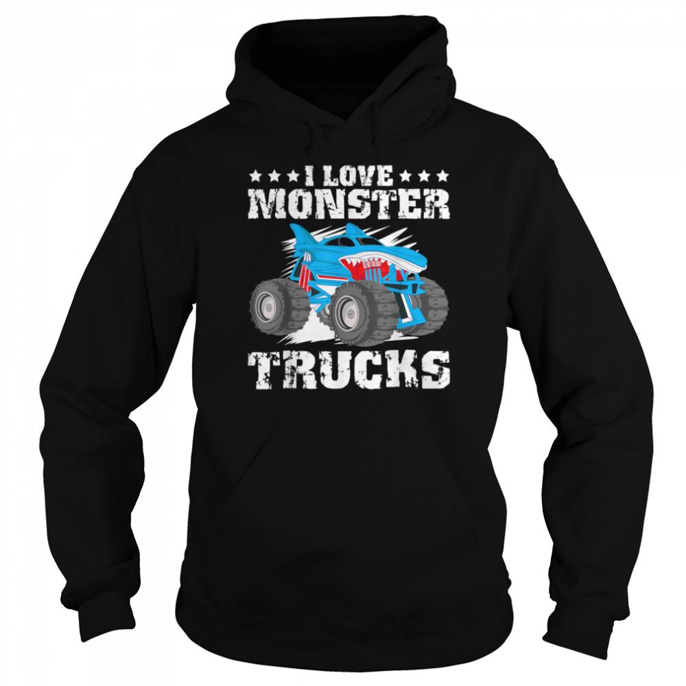 I Love Monster Trucks Stars  Unisex Hoodie