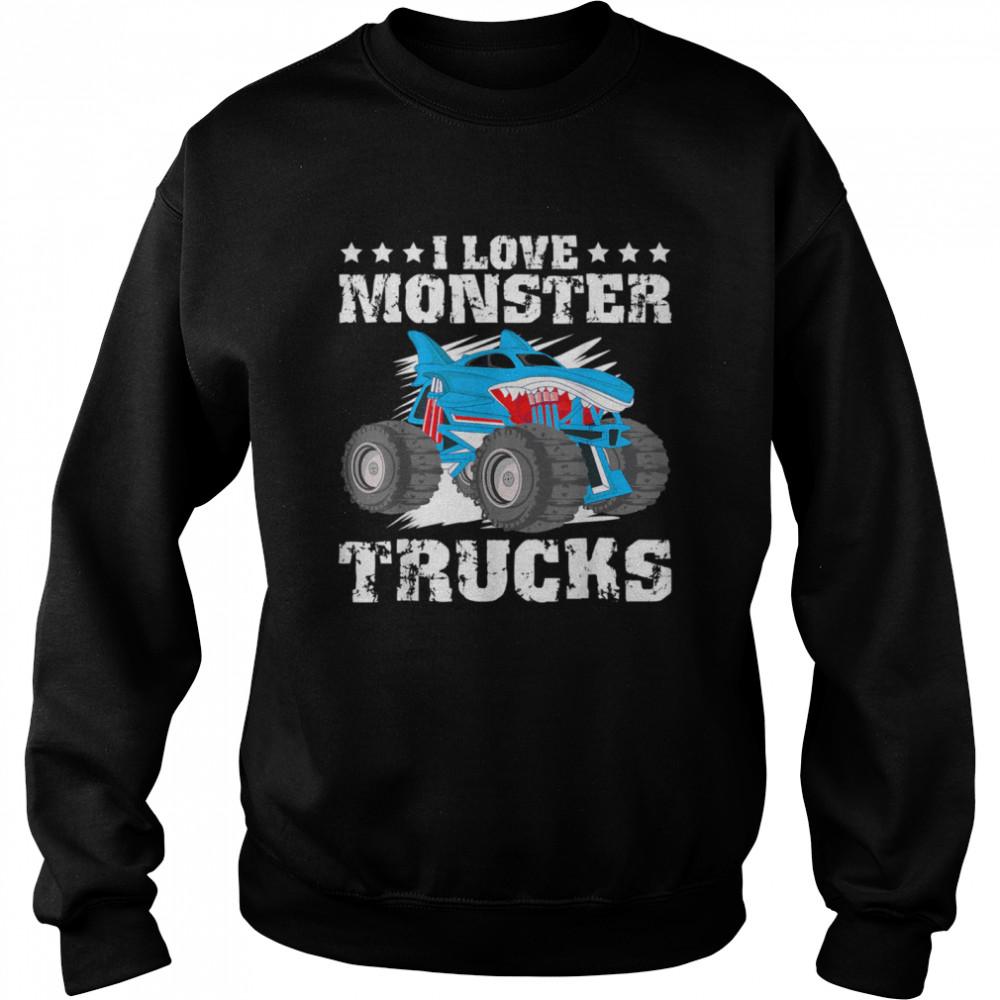 I Love Monster Trucks Stars  Unisex Sweatshirt
