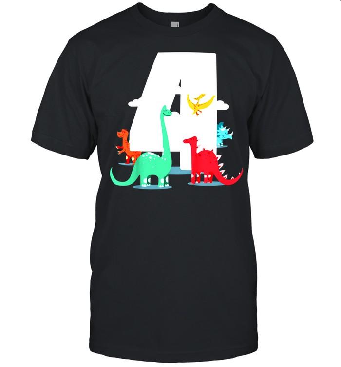 Kids Birthday 4th – Dinoparty shirt Classic Men's T-shirt