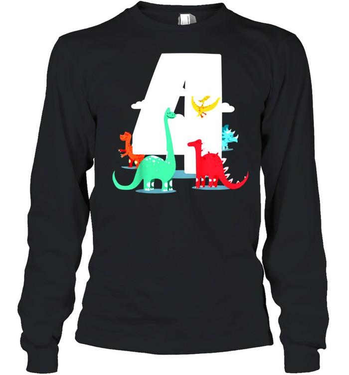 Kids Birthday 4th – Dinoparty shirt Long Sleeved T-shirt