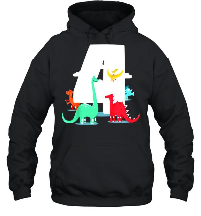 Kids Birthday 4th – Dinoparty shirt Unisex Hoodie