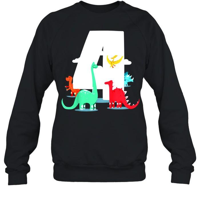 Kids Birthday 4th – Dinoparty shirt Unisex Sweatshirt