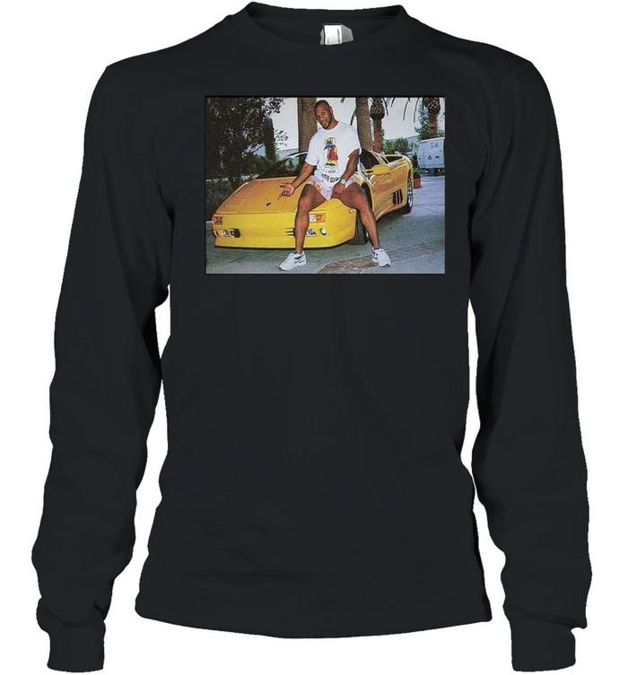 Kid Dynamite Champ Boxer Sitting On Lamborghini Print On  Long Sleeved T-shirt