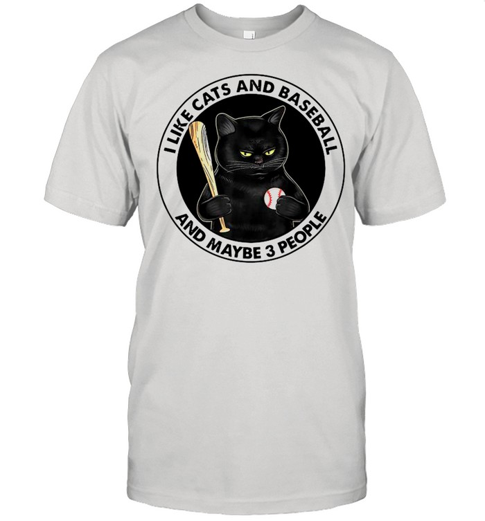Black Cat I Like Cats And Baseball And Maybe Three People shirt Classic Men's T-shirt