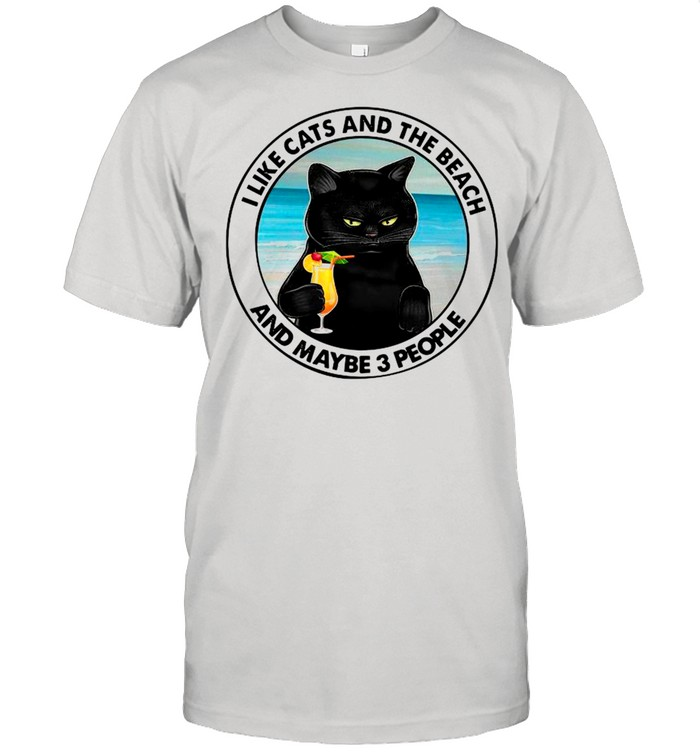 Black Cat I Like Cats And Beach And Maybe Three People shirt Classic Men's T-shirt