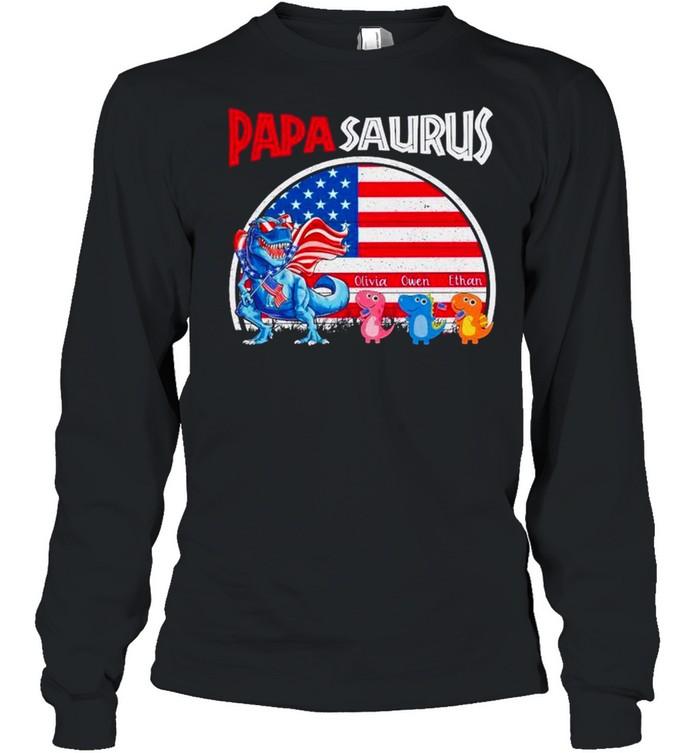 Dinosaur Papasaurus Olivia Owen Ethan American flag shirt Long Sleeved T-shirt