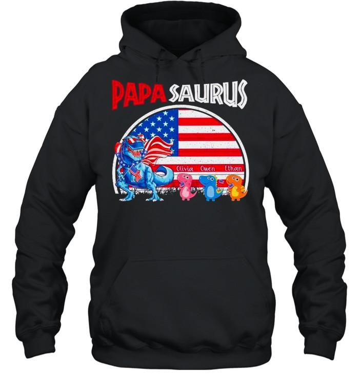 Dinosaur Papasaurus Olivia Owen Ethan American flag shirt Unisex Hoodie