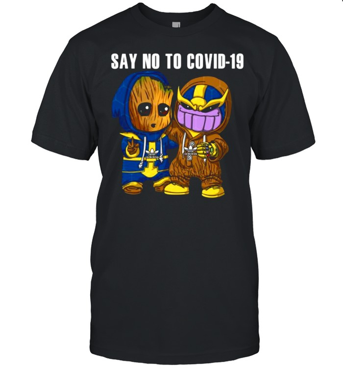 Baby groot and thanos sau no to covid19 shirt Classic Men's T-shirt