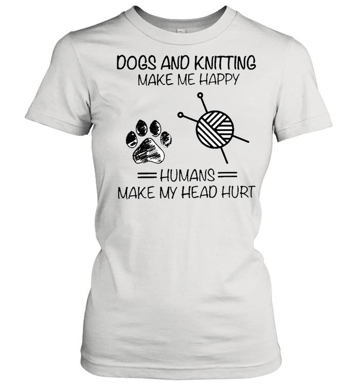 dog and knitting humans shirt Classic Women's T-shirt