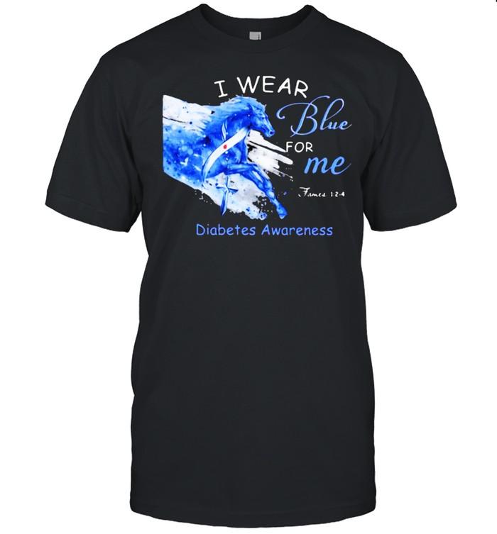I Wear Blue For Me Diabetes Awareness Horse  Classic Men's T-shirt