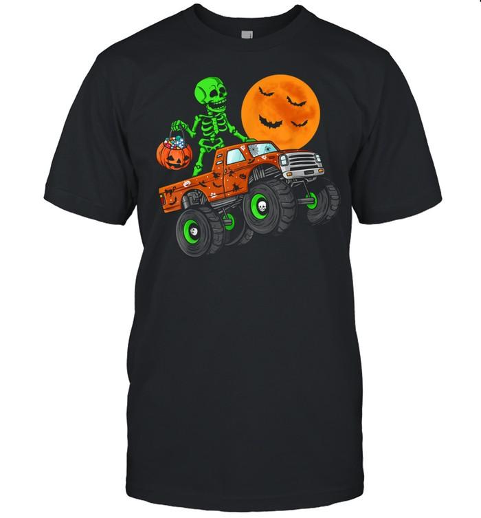 Halloween Skeleton Riding Monster Truck Toddler Boys shirt Classic Men's T-shirt