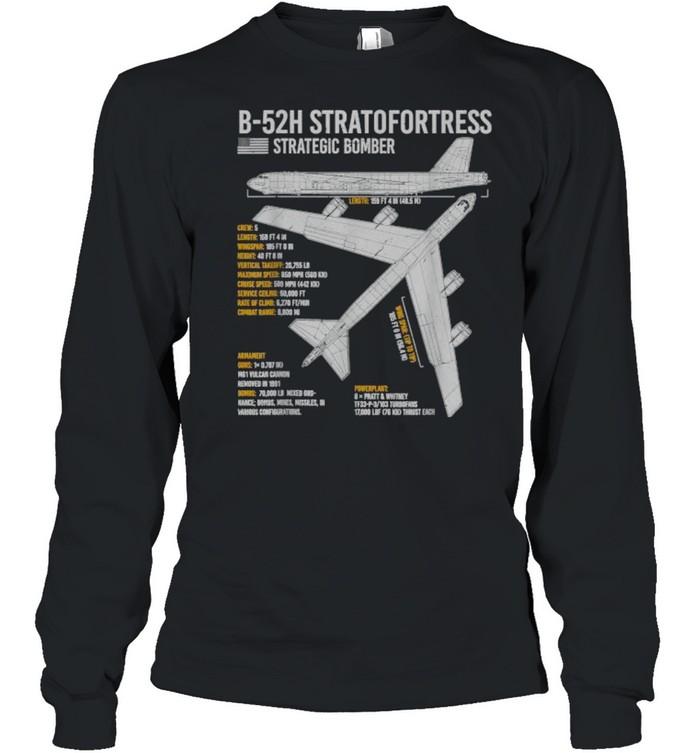 B-52 Stratofortress Bomber Aircraft Airplane Blueprint Facts B-52 Stratofortress Bomber Aircraft Airplane Blueprint Facts  Long Sleeved T-shirt