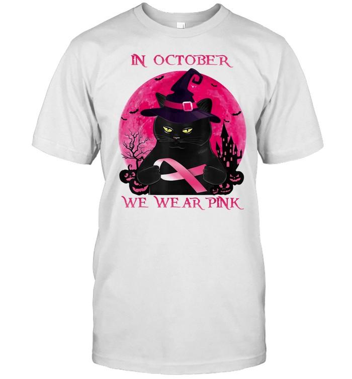 Black Cat In October We Wear Pink Halloween Breast Cancer Awareness shirt Classic Men's T-shirt