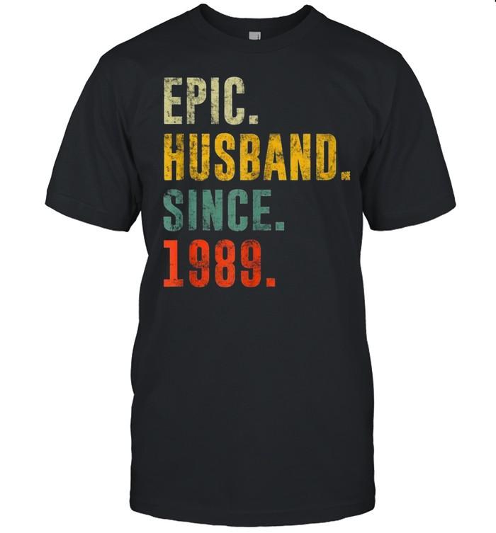 32nd Wedding Anniversary Vintage Epic Husband Since 1989 shirt Classic Men's T-shirt