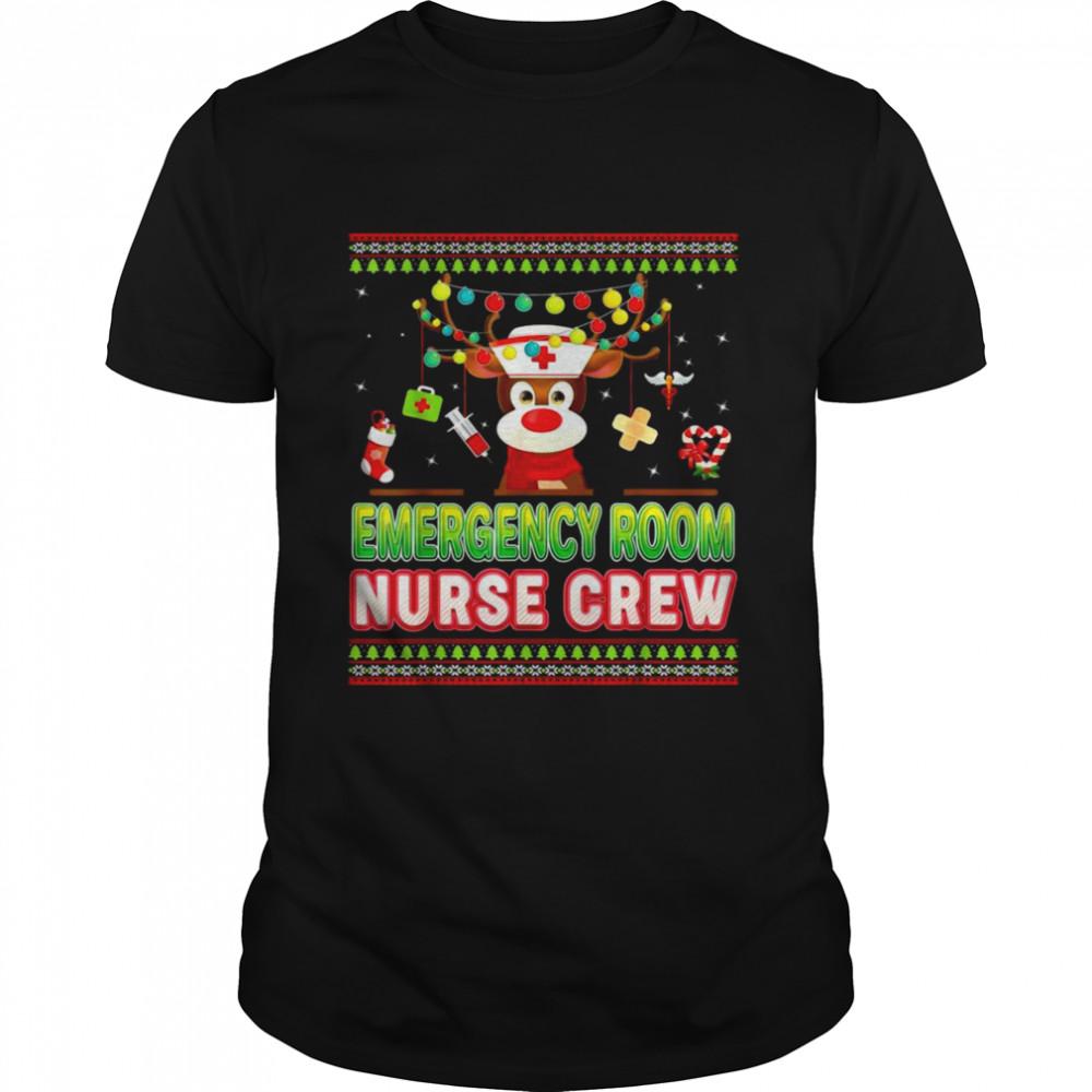 Reindeer Christmas Emergency Room Nurse Crew Shirt