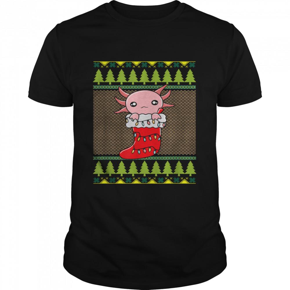 Christmas Axolotl Stocking Cute Ugly Christmas T- Classic Men's T-shirt