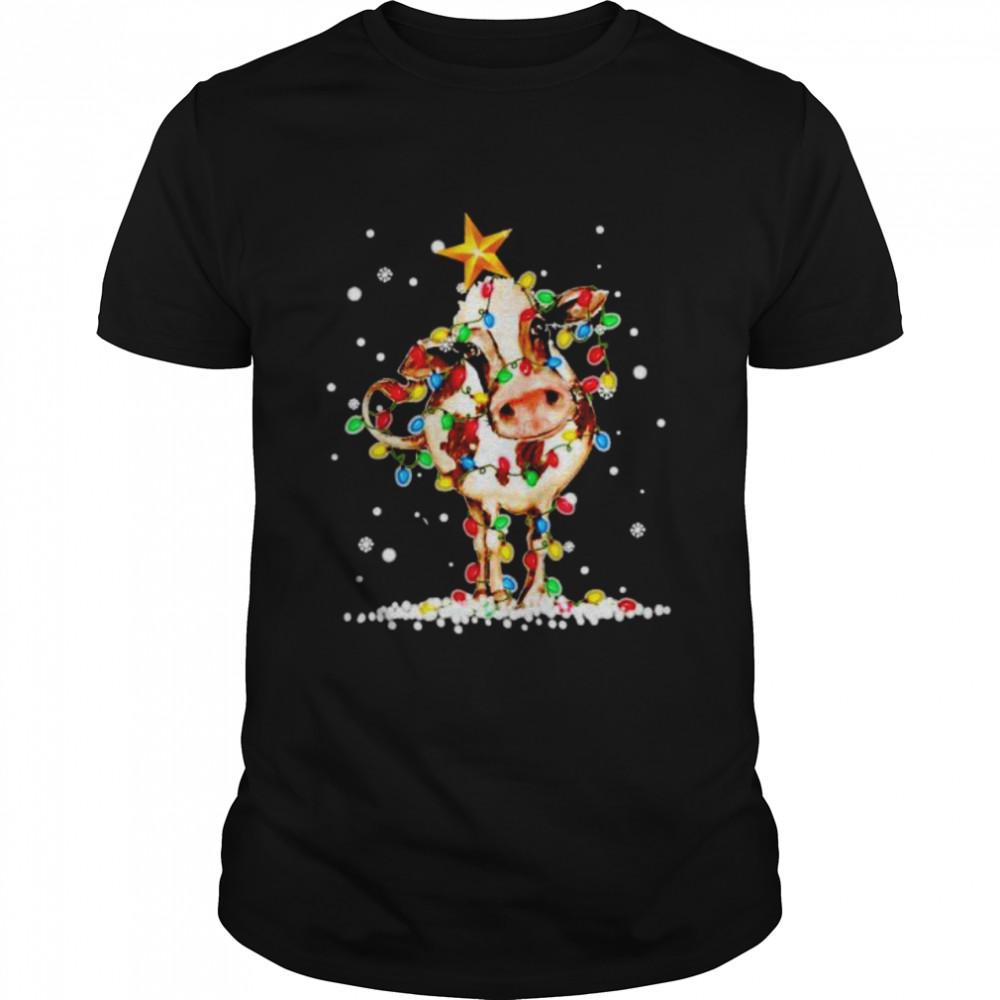 cow Christmas light shirt Classic Men's T-shirt