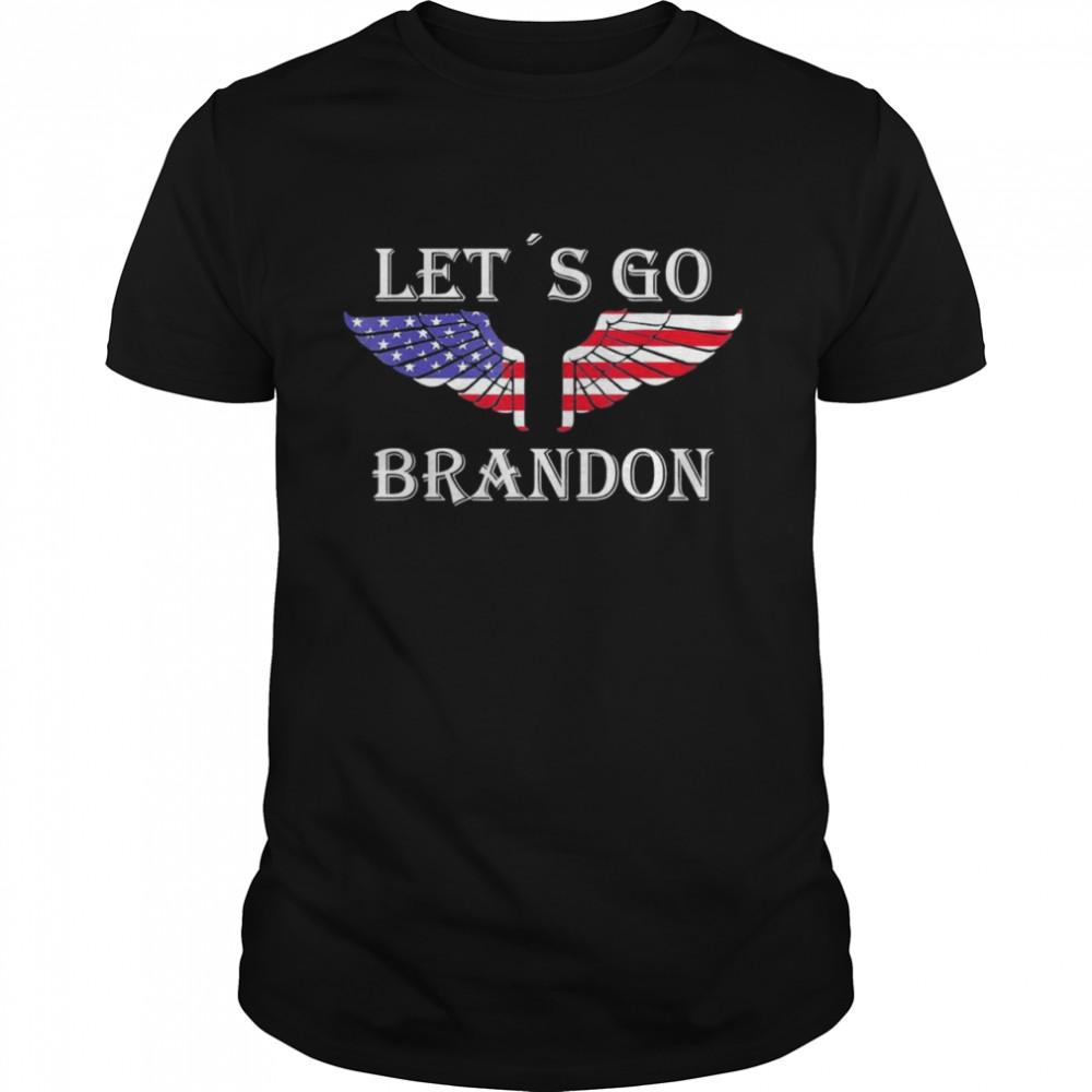 Let´s Go Brandon American Flag US Angel Wings T- Classic Men's T-shirt