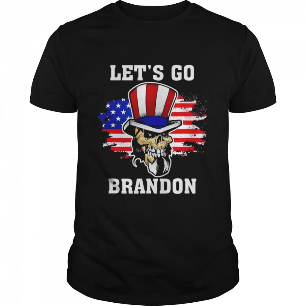 Lets Go Brandon Skull US flag retro shirt Classic Men's T-shirt