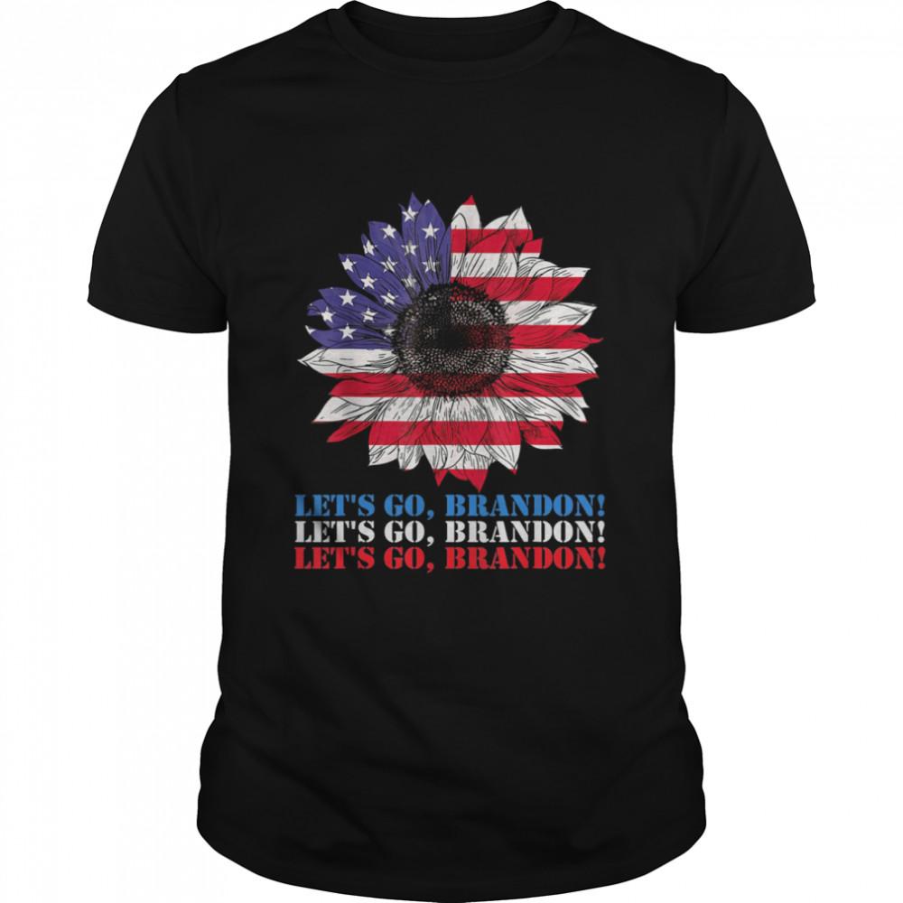Let's Go Brandon Sunflower American Flag  Classic Men's T-shirt